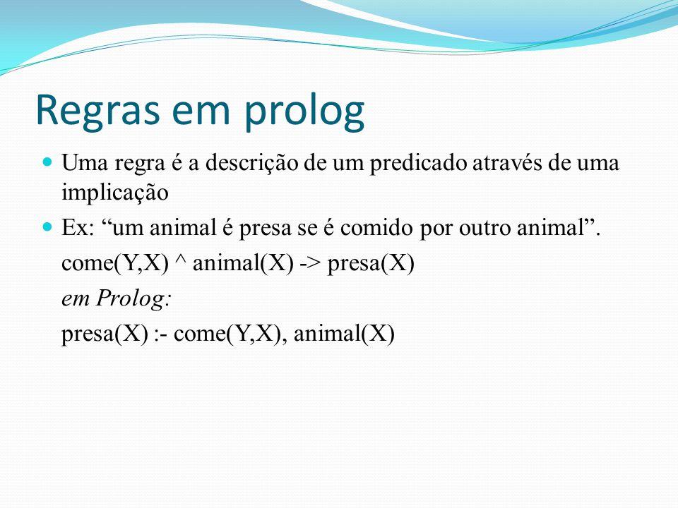 Regras em prolog Uma regra é a descrição de um predicado através de uma implicação. Ex: um animal é presa se é comido por outro animal .