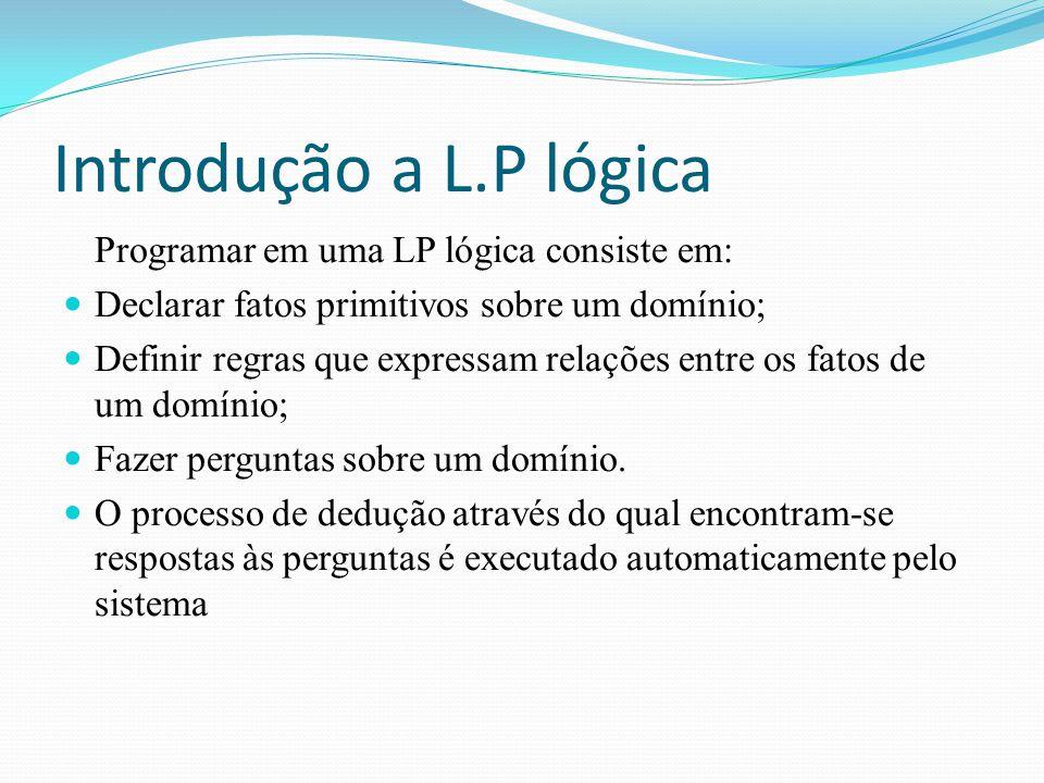 Introdução a L.P lógica Programar em uma LP lógica consiste em: