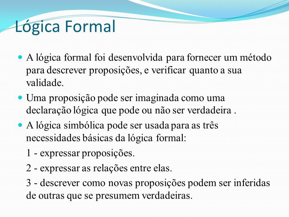 Lógica Formal A lógica formal foi desenvolvida para fornecer um método para descrever proposições, e verificar quanto a sua validade.