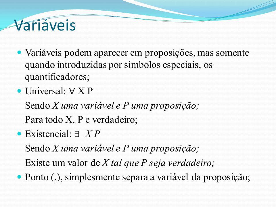 Variáveis Variáveis podem aparecer em proposições, mas somente quando introduzidas por símbolos especiais, os quantificadores;