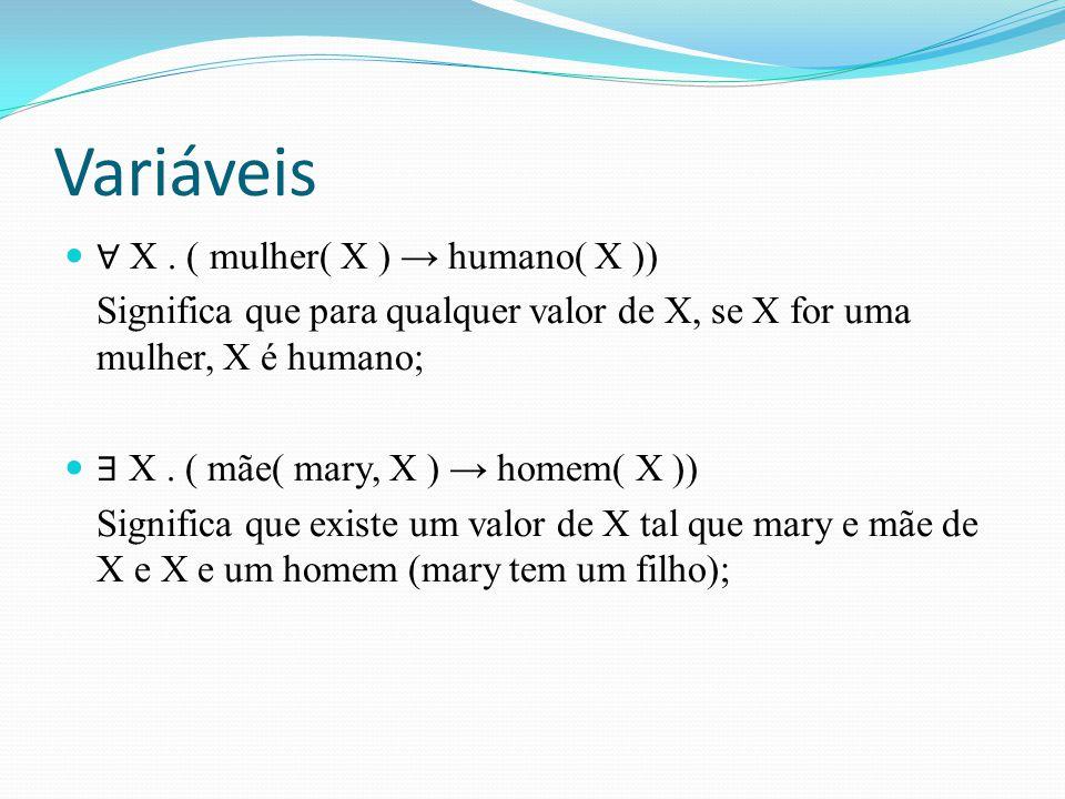 Variáveis ∀ X . ( mulher( X ) → humano( X ))