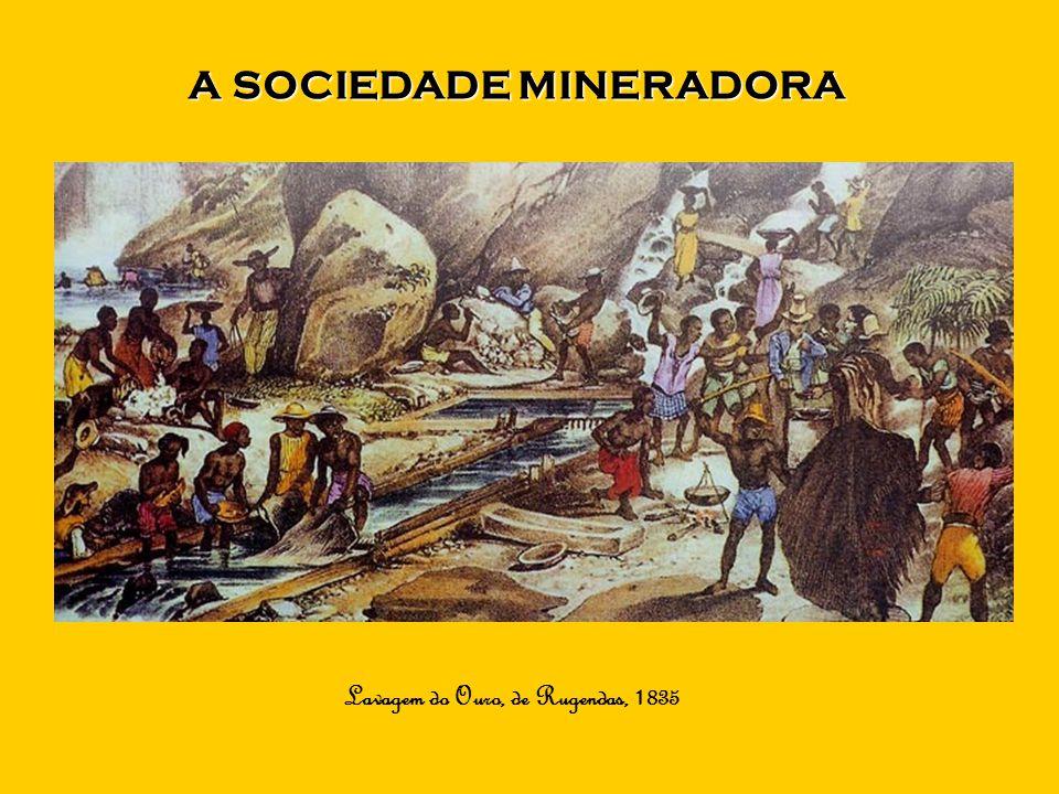A SOCIEDADE MINERADORA Lavagem do Ouro, de Rugendas, 1835