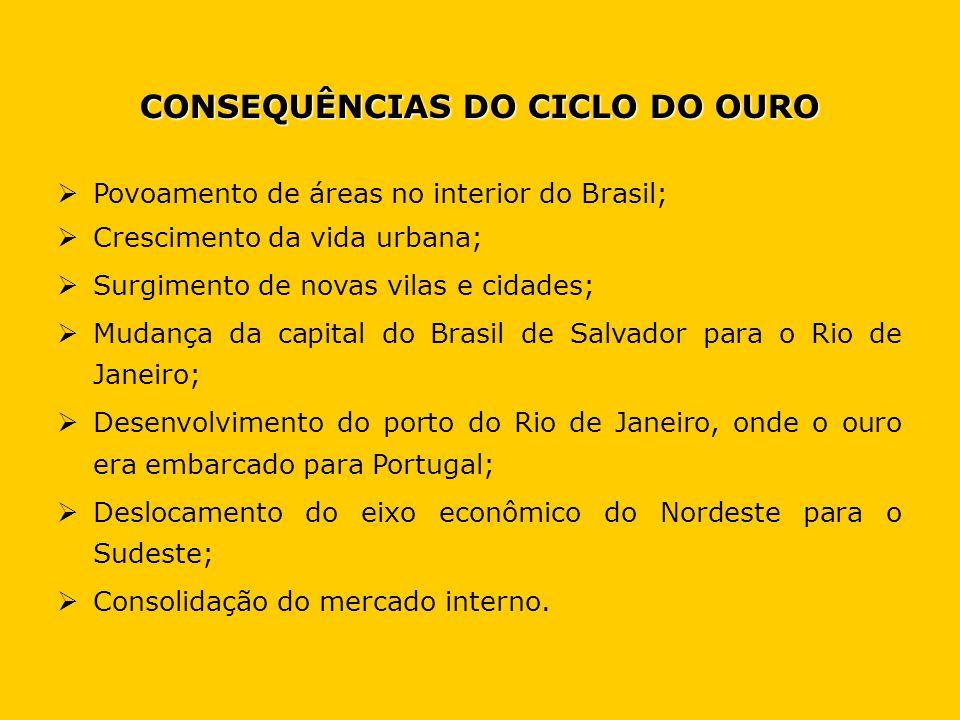 CONSEQUÊNCIAS DO CICLO DO OURO