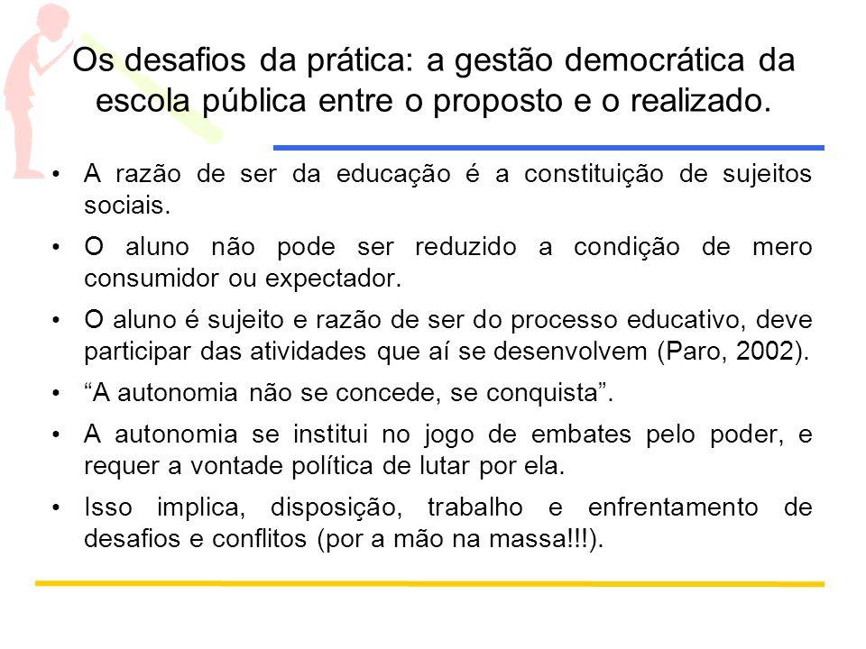 Os desafios da prática: a gestão democrática da escola pública entre o proposto e o realizado.