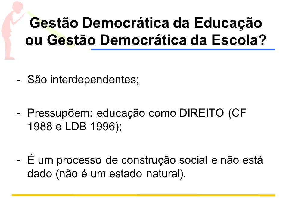Gestão Democrática da Educação ou Gestão Democrática da Escola