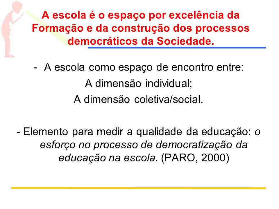 A escola como espaço de encontro entre: A dimensão individual;