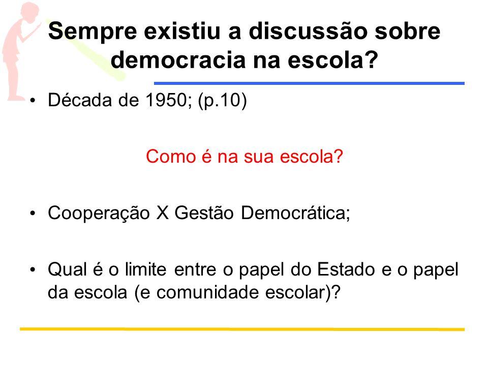 Sempre existiu a discussão sobre democracia na escola