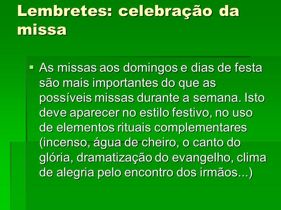 Lembretes: celebração da missa