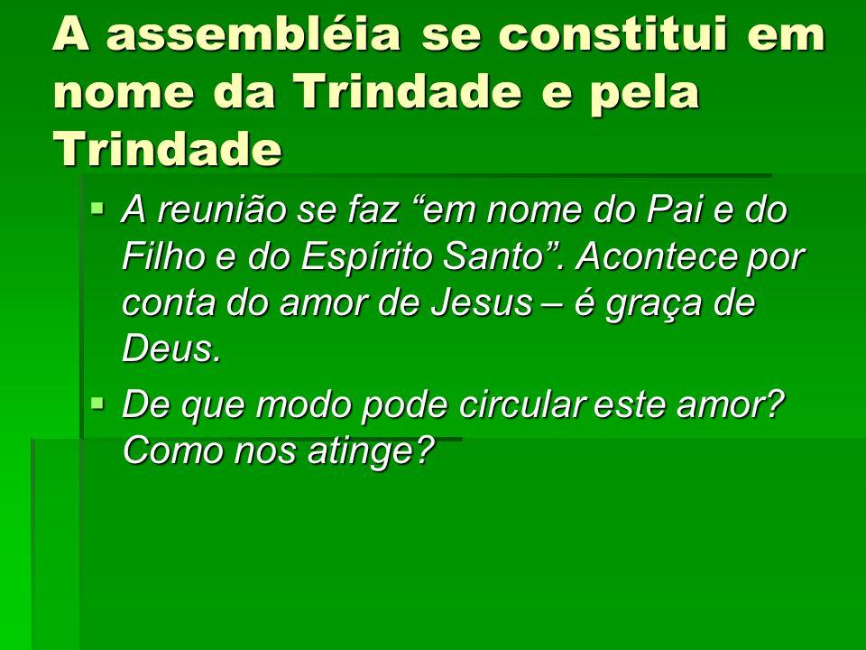 A assembléia se constitui em nome da Trindade e pela Trindade