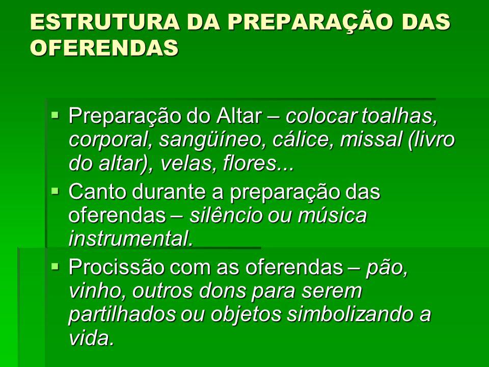 ESTRUTURA DA PREPARAÇÃO DAS OFERENDAS