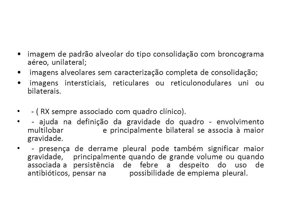 imagem de padrão alveolar do tipo consolidação com broncograma aéreo, unilateral;