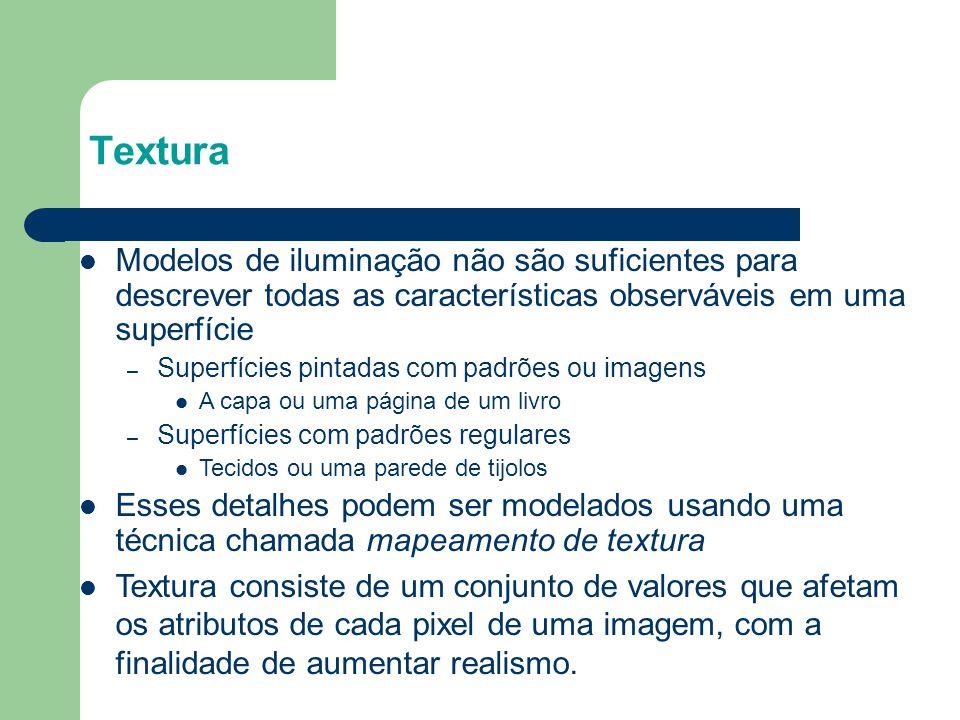 Textura Modelos de iluminação não são suficientes para descrever todas as características observáveis em uma superfície.