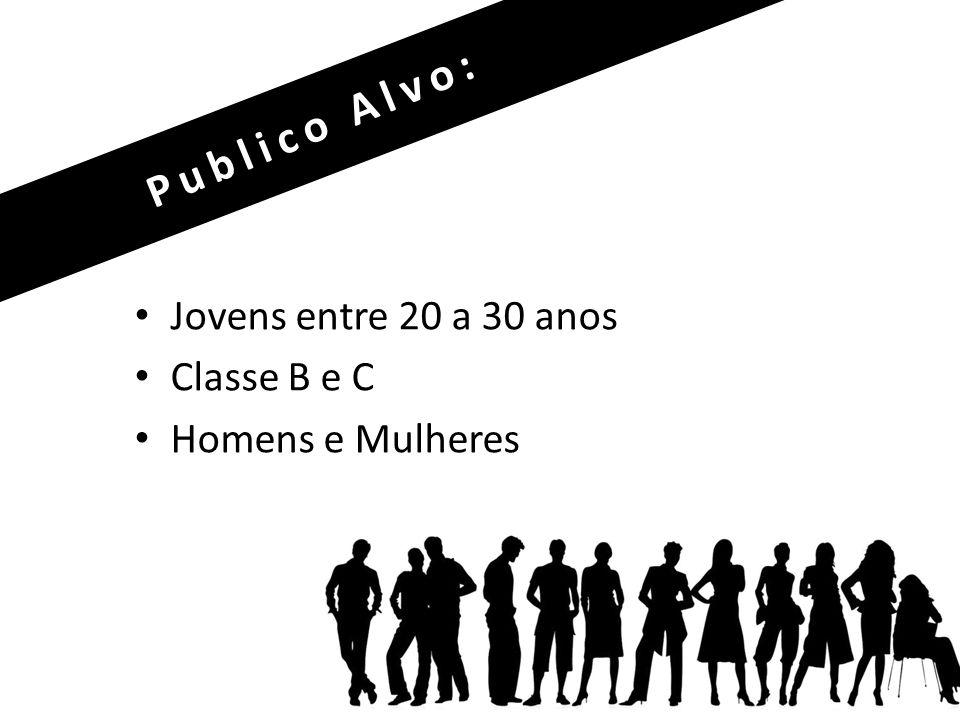 Publico Alvo: Jovens entre 20 a 30 anos Classe B e C Homens e Mulheres