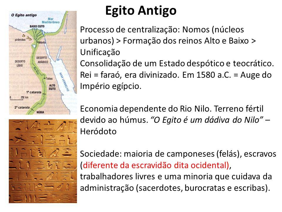 Egito Antigo Processo de centralização: Nomos (núcleos urbanos) > Formação dos reinos Alto e Baixo > Unificação.