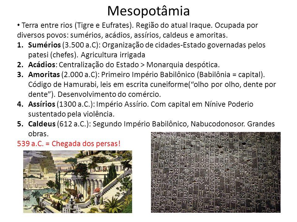Mesopotâmia Terra entre rios (Tigre e Eufrates). Região do atual Iraque. Ocupada por diversos povos: sumérios, acádios, assírios, caldeus e amoritas.