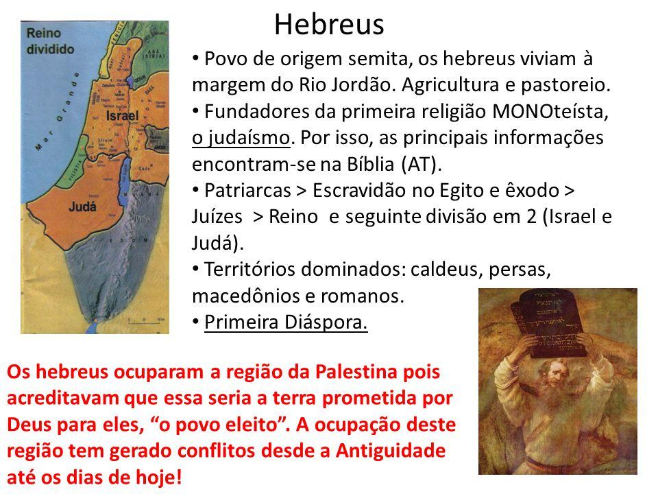 Hebreus Povo de origem semita, os hebreus viviam à margem do Rio Jordão. Agricultura e pastoreio.
