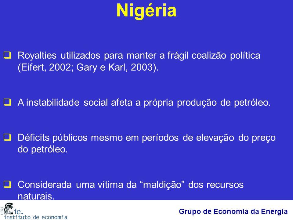 Nigéria Royalties utilizados para manter a frágil coalizão política (Eifert, 2002; Gary e Karl, 2003).