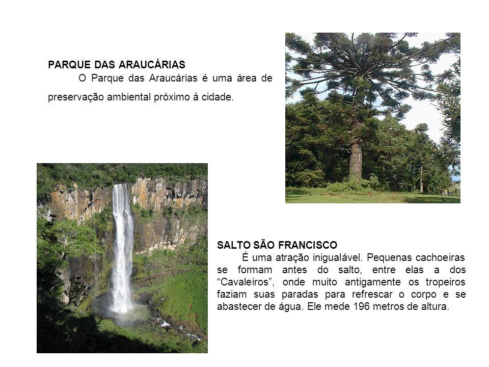 PARQUE DAS ARAUCÁRIAS O Parque das Araucárias é uma área de preservação ambiental próximo à cidade.