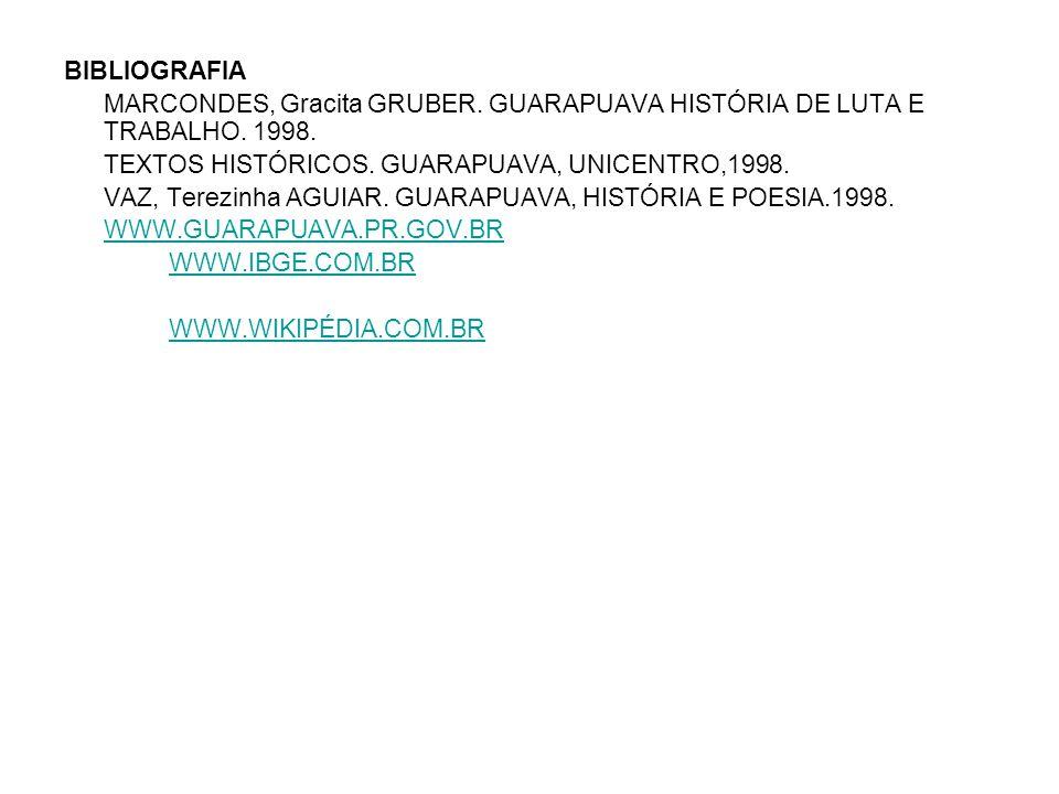 BIBLIOGRAFIA MARCONDES, Gracita GRUBER. GUARAPUAVA HISTÓRIA DE LUTA E TRABALHO. 1998. TEXTOS HISTÓRICOS. GUARAPUAVA, UNICENTRO,1998.