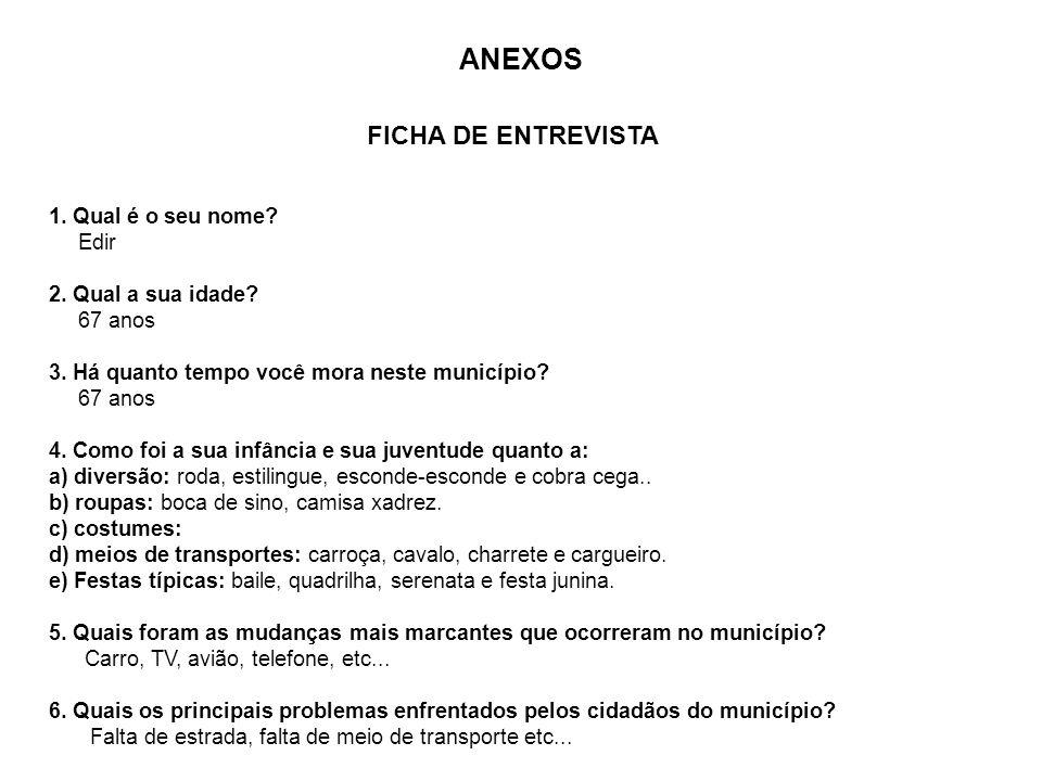 ANEXOS FICHA DE ENTREVISTA 1. Qual é o seu nome Edir