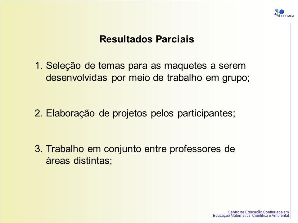 Resultados Parciais Seleção de temas para as maquetes a serem desenvolvidas por meio de trabalho em grupo;
