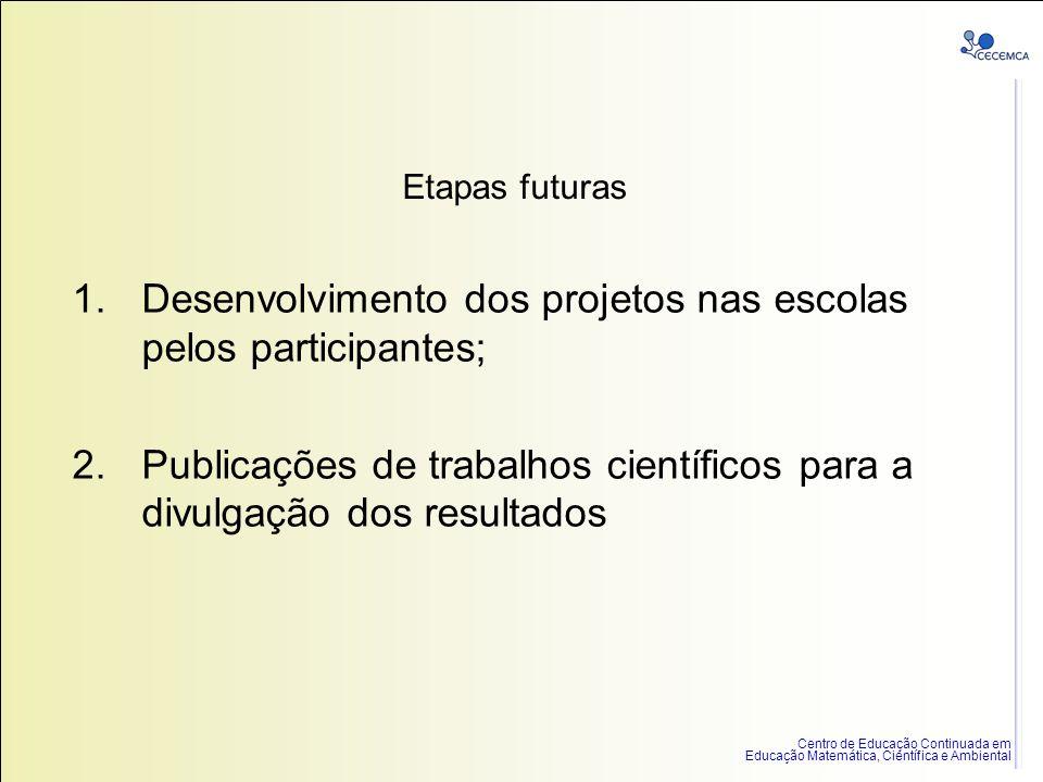 Desenvolvimento dos projetos nas escolas pelos participantes;