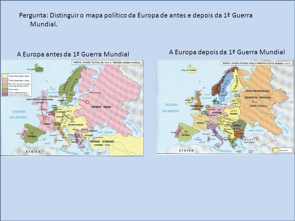 Pergunta: Distinguir o mapa político da Europa de antes e depois da 1ª Guerra Mundial.