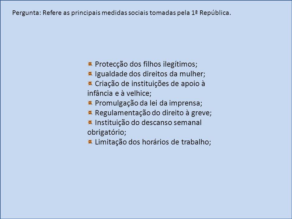 Protecção dos filhos ilegítimos; Igualdade dos direitos da mulher;