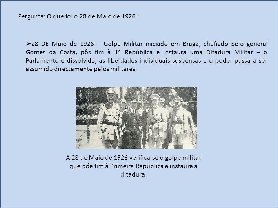Pergunta: O que foi o 28 de Maio de 1926