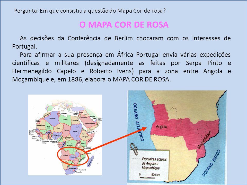 Pergunta: Em que consistiu a questão do Mapa Cor-de-rosa