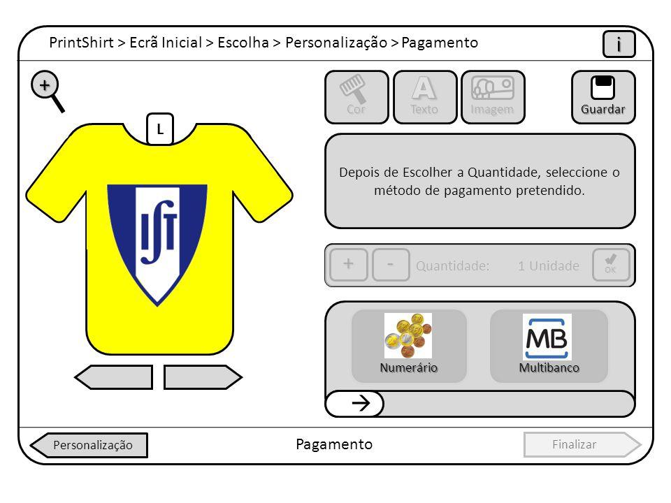 PrintShirt > Ecrã Inicial > Escolha > Personalização > Pagamento