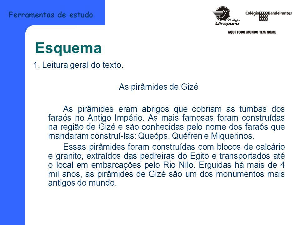 Esquema 1. Leitura geral do texto. As pirâmides de Gizé
