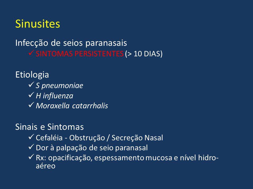 Sinusites Infecção de seios paranasais Etiologia Sinais e Sintomas