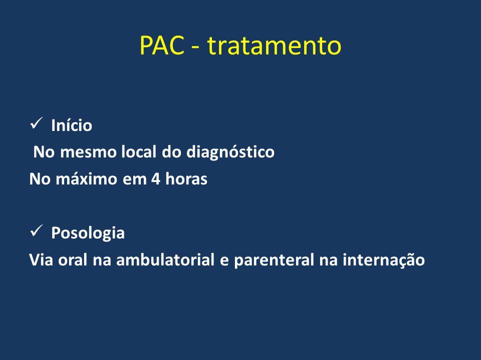 PAC - tratamento Início No mesmo local do diagnóstico