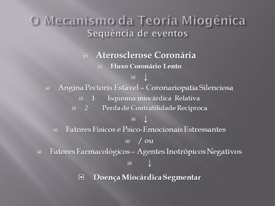 O Mecanismo da Teoria Miogênica Sequência de eventos