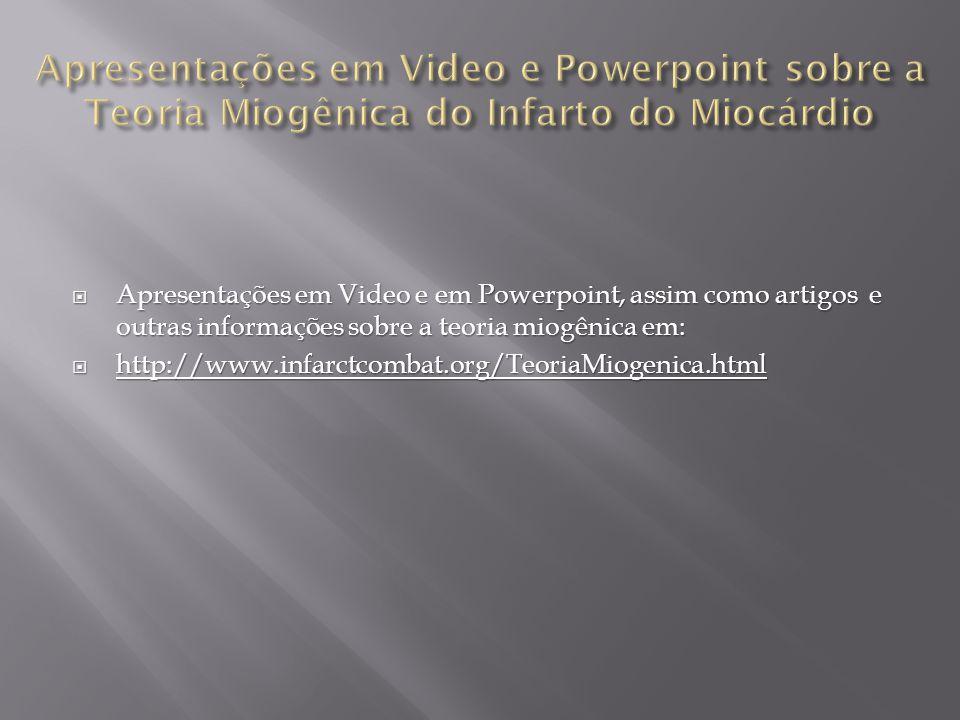 Apresentações em Video e Powerpoint sobre a Teoria Miogênica do Infarto do Miocárdio