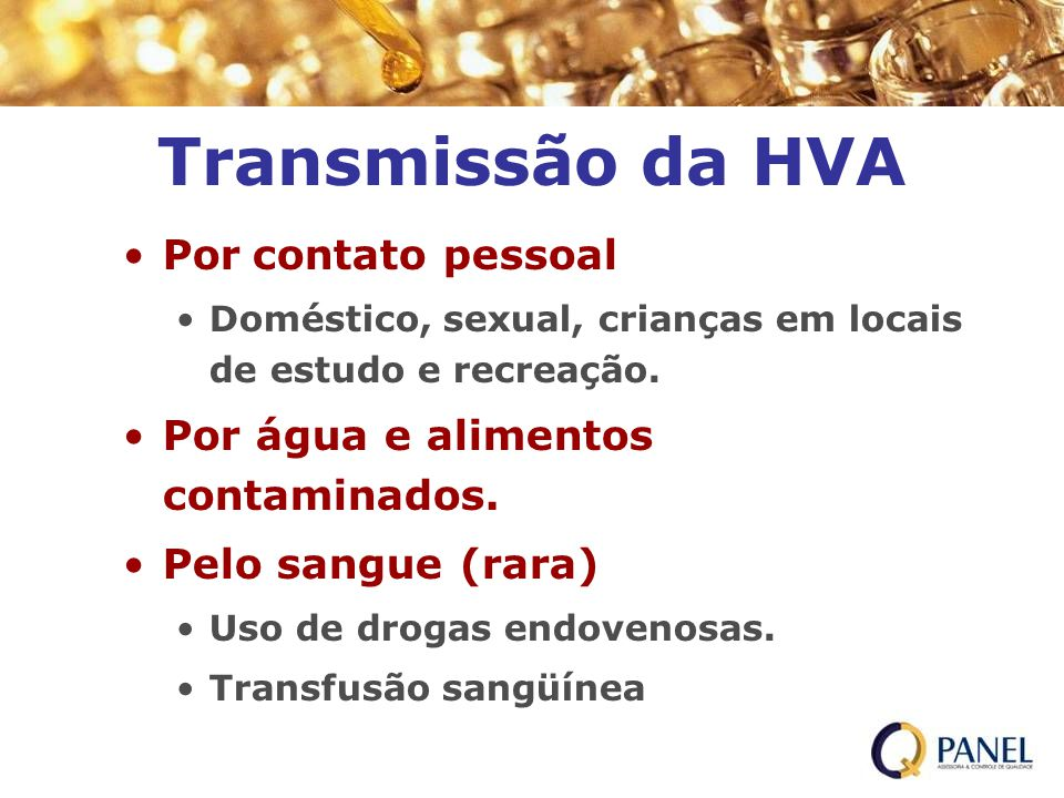 Transmissão da HVA Por contato pessoal