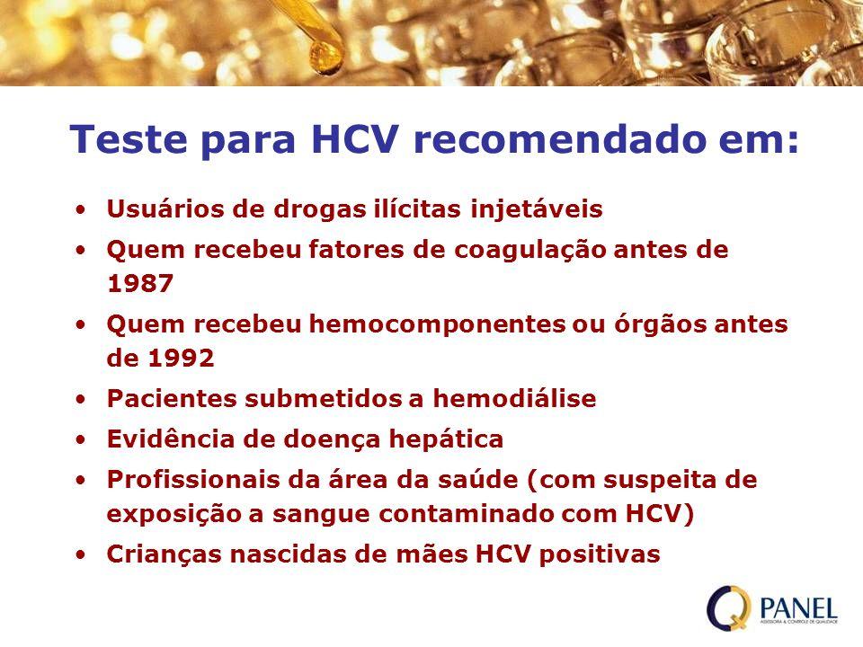 Teste para HCV recomendado em: