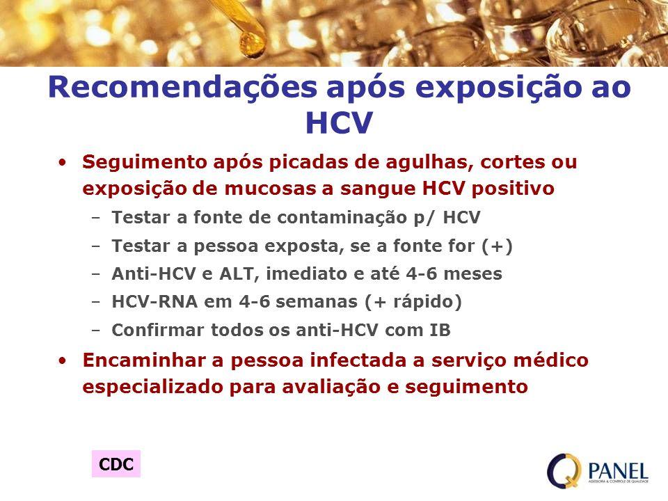 Recomendações após exposição ao HCV