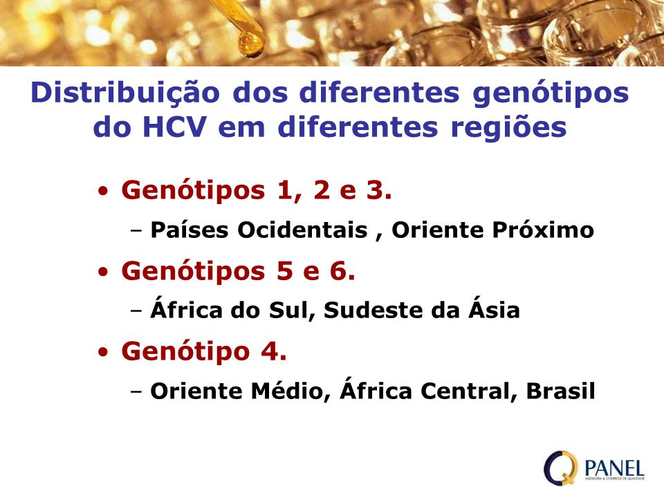 Distribuição dos diferentes genótipos do HCV em diferentes regiões