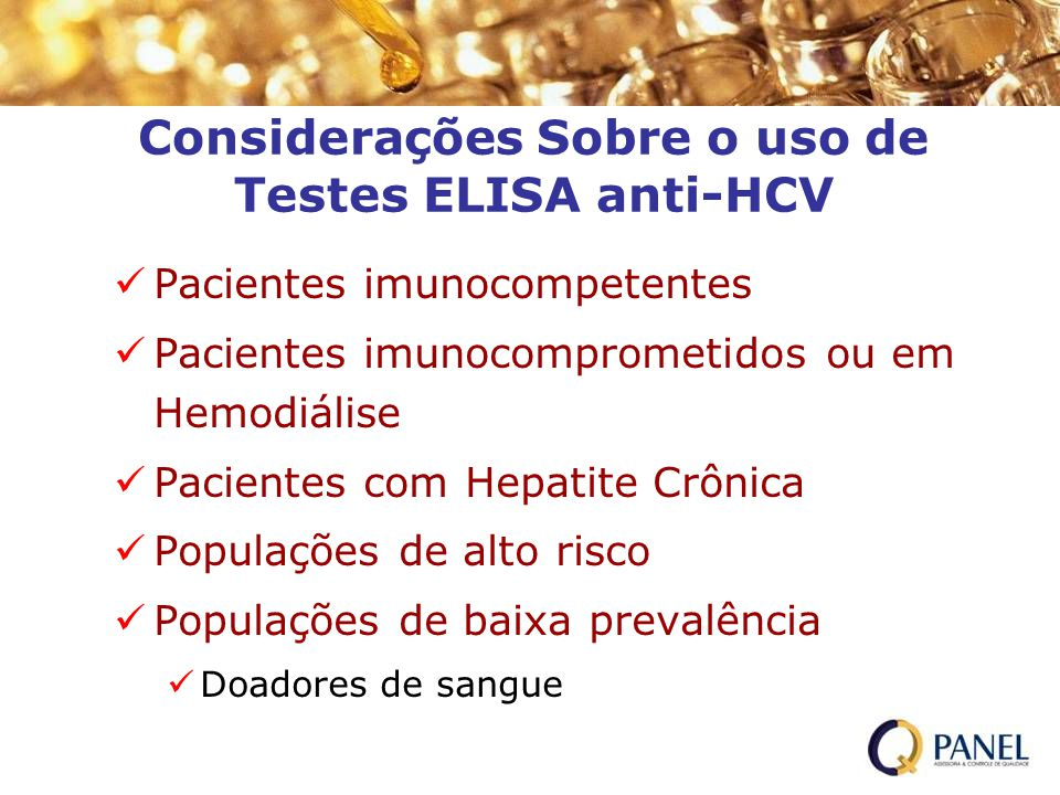 Considerações Sobre o uso de Testes ELISA anti-HCV