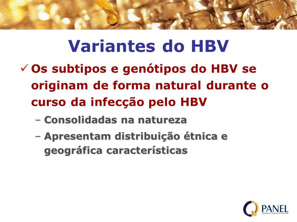 Variantes do HBV Os subtipos e genótipos do HBV se originam de forma natural durante o curso da infecção pelo HBV.