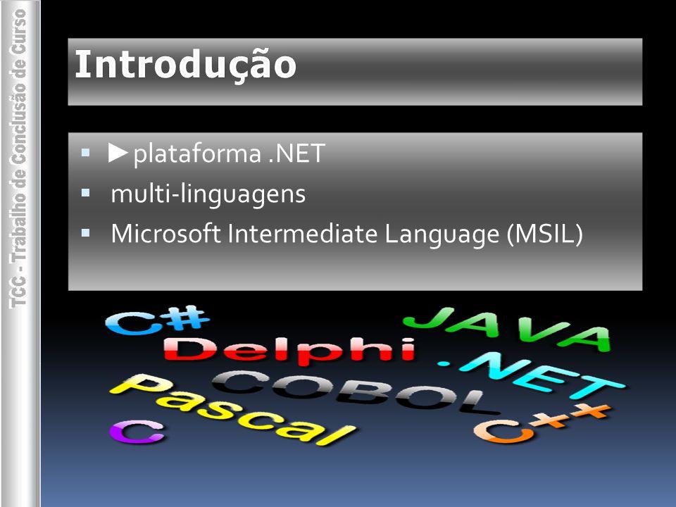 Introdução ►plataforma .NET multi-linguagens