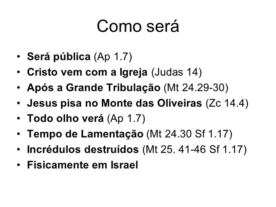 Como será Será pública (Ap 1.7) Cristo vem com a Igreja (Judas 14)
