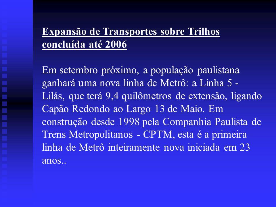 Expansão de Transportes sobre Trilhos concluída até 2006
