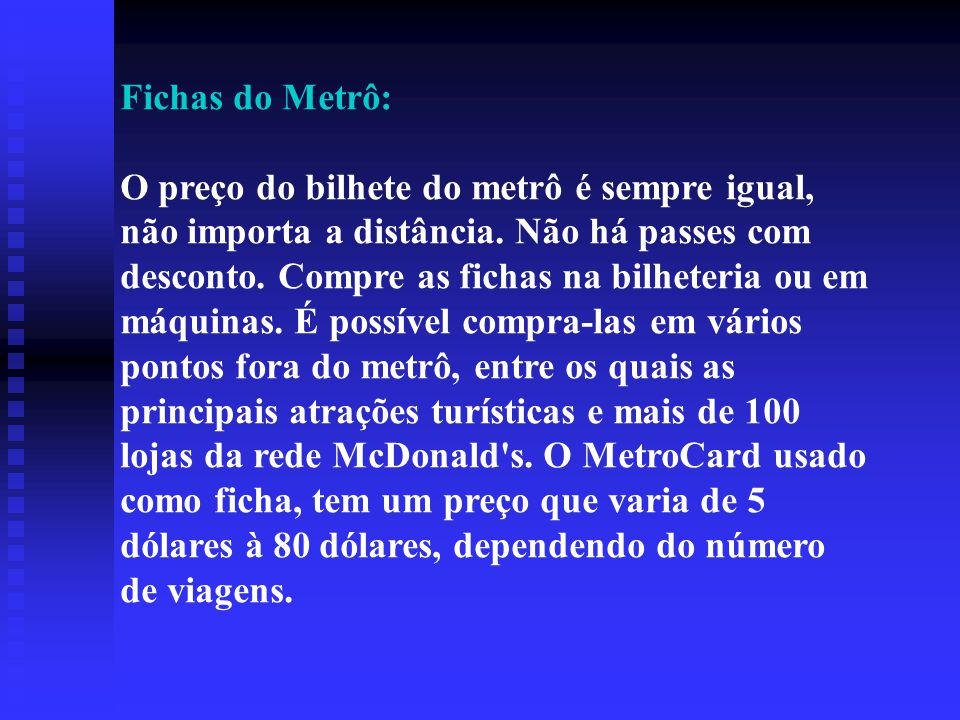 Fichas do Metrô: