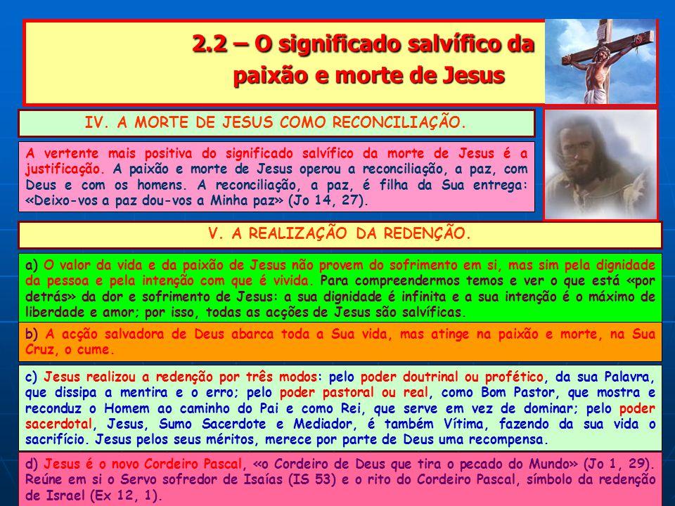 2.2 – O significado salvífico da paixão e morte de Jesus