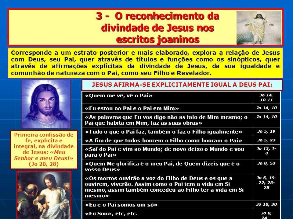 3 - O reconhecimento da divindade de Jesus nos escritos joaninos