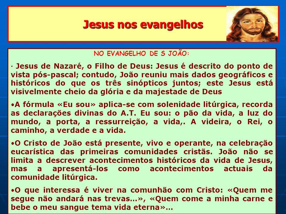 Jesus nos evangelhos NO EVANGELHO DE S JOÃO: