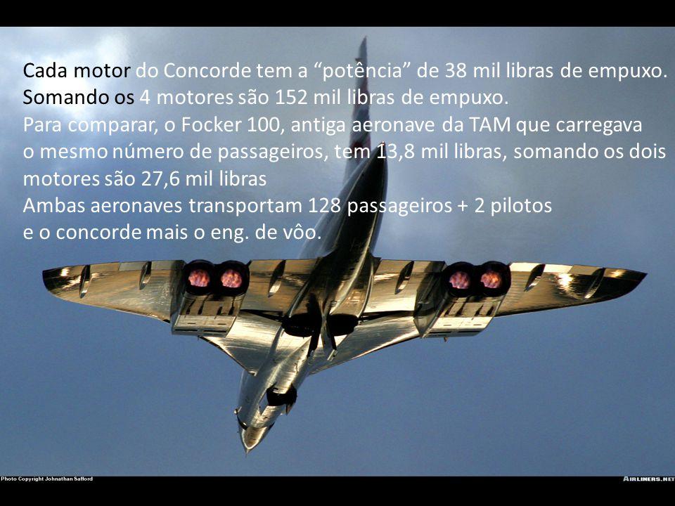 Cada motor do Concorde tem a potência de 38 mil libras de empuxo.